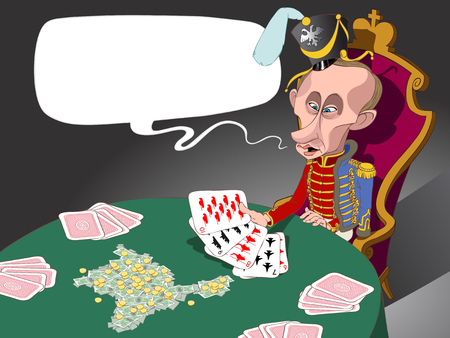 Russian president Vladivir Putin dressed as husar sitting at the table and looking at his military cards