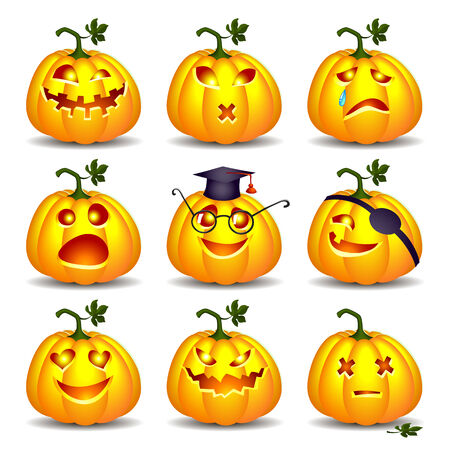 Set of pumpkin smiles for Halloween on white background