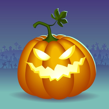 Angry face of helloween pumpkin at cemetery background Vector
