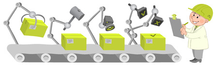 Workers at the factory operation. Quality control. Illustration