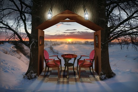 Winter Evening, photocollage. A lot of my shots as a source. Couple of armchairs in home shaped hole of the tree.