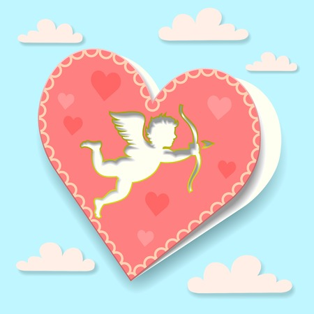 Valentines Day greeting card on cloud background