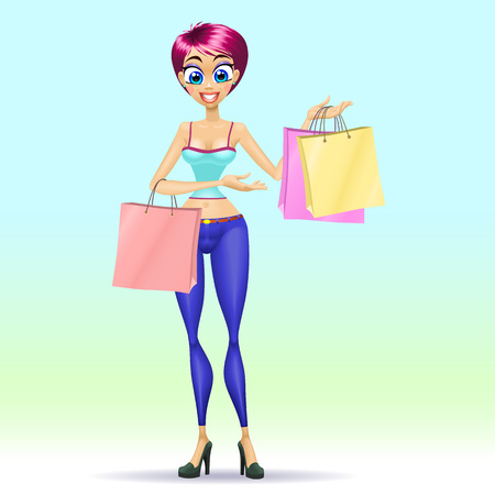 Shopping girl with three bags. Vector illustration