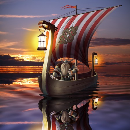 ancient ships: Viking boat in the sea, mix of illustration and photo