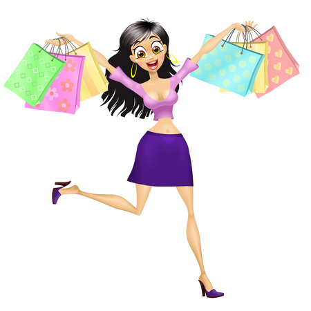 Smiling running shopping girl. Isolated vector illustration. Illustration
