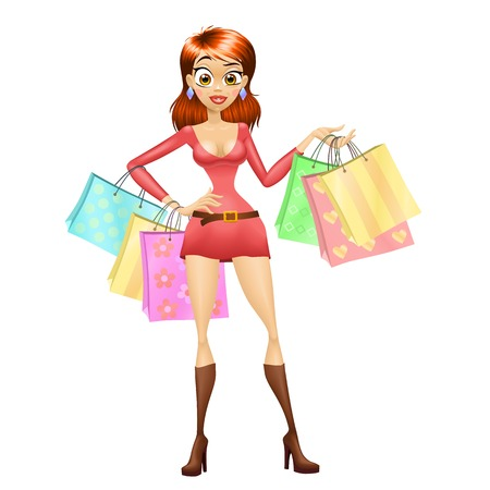 Staying shopping girl in red. Isolated vector illustration.