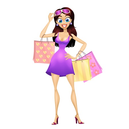 Staying shopping girl with three bags and glasses. Isolated vector illustration. Illustration