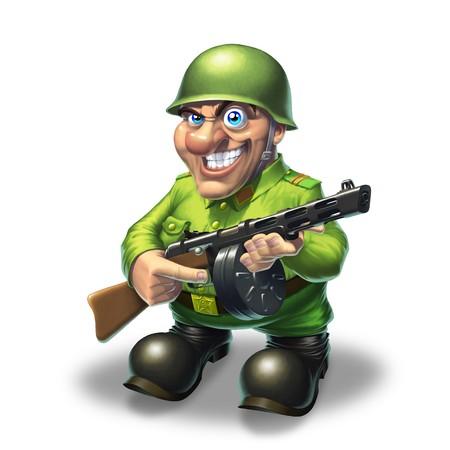 Soldier in green standing with machine gun Stock Photo