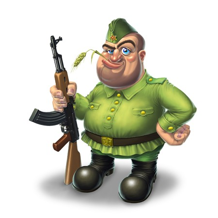 Soldier in green standing with machine gun Stock Photo