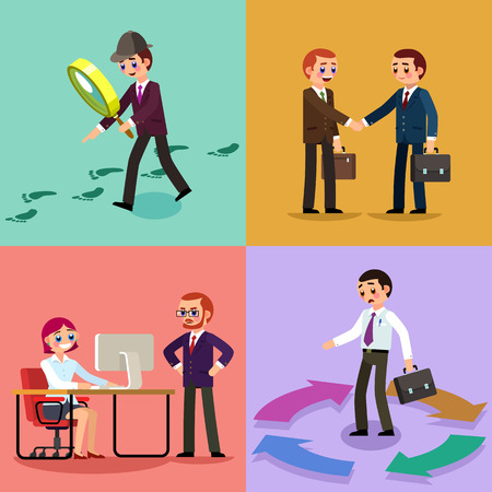 Set of business illustration. Working men and women. Set 3.