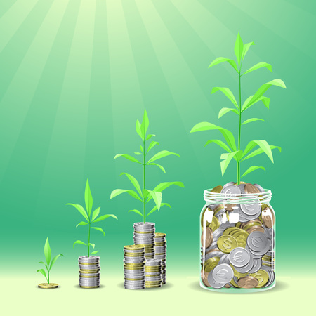 Coins stacks with a plants growing on the top. Concept vector illustrration. 일러스트