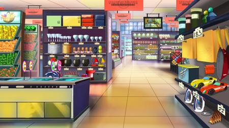 スーパー マーケット内部。画像 01 写真素材