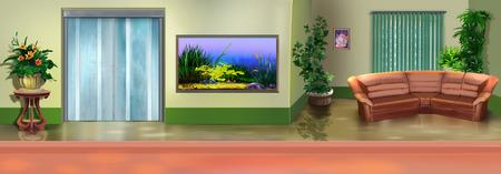 panorama view: Office interior. Panorama view. Stock Photo