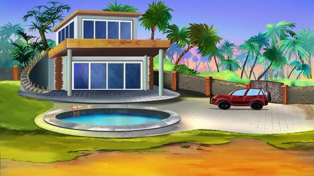 villa: Villa in a tropical garden. Stock Photo