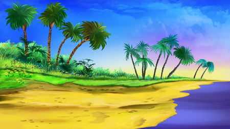 tree illustration: tropical beach Stock Photo