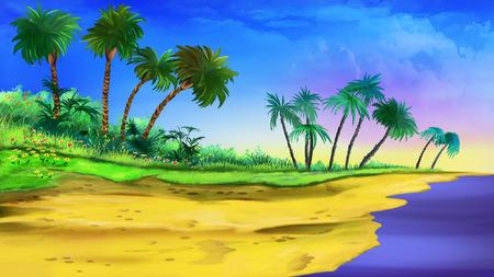 seasons cartoon: tropical beach Stock Photo
