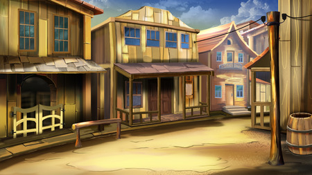 The main street of the town in the Wild West Stockfoto