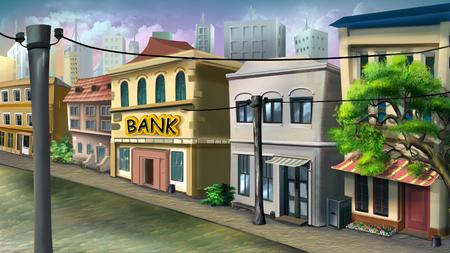 Eine kleine Bank auf der Stadtstraße.