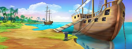 해적 섬의 해안에 해 적 선박. 파노라마보기.