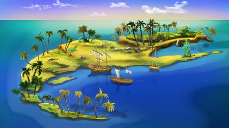 barco caricatura: Isla del pirata. Vista superior