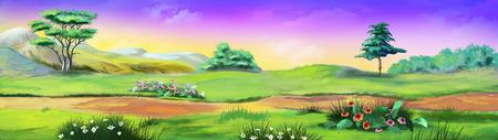 木々 や花のパノラマ風景です。画像 01 写真素材