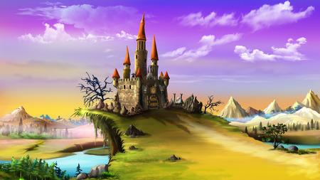 Landscape with a Magic Castle. Standard-Bild