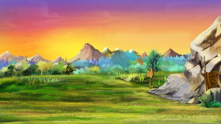石は、背景の山を洞窟します。