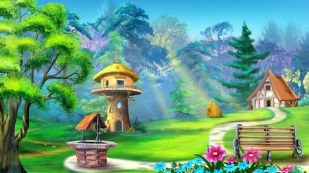 casa mágica en el bosque Foto de archivo