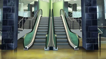 Building entrance with escalator. Stock Photo