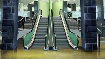 building entrance: Building entrance with escalator. Stock Photo