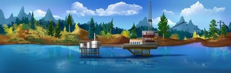 oil platform: Oil platform in the sea.