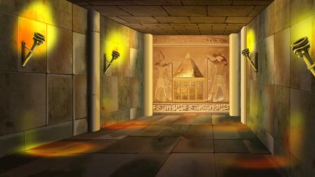 古代エジプトの神殿内部 写真素材