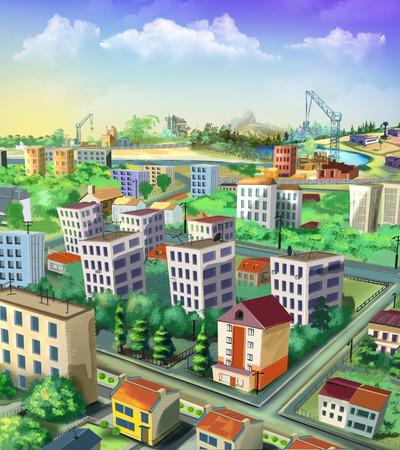 Cityscape. View from above Фото со стока