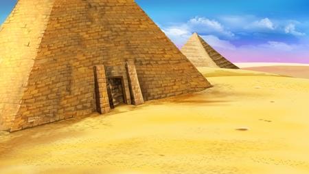 エジプトのピラミッドの入り口で。