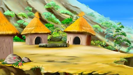 Klein dorpje in de bergen