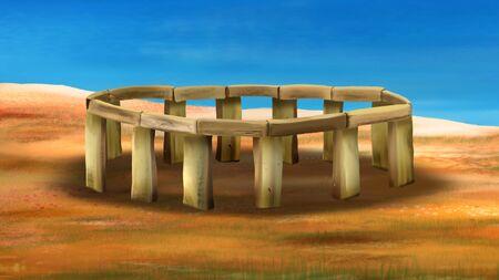 Stonehenge. Digital painting Stock Photo
