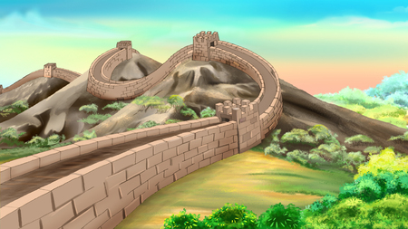 painting on the wall: great wall of china Stock Photo