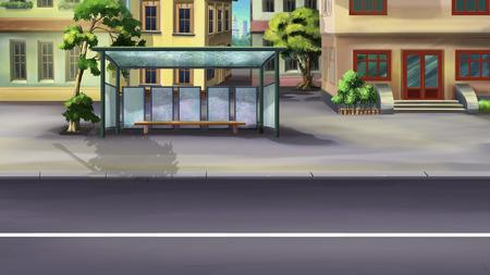 parada de autobus: parada de autob�s en una ciudad