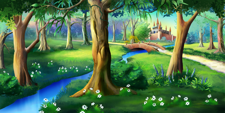 Magic Forest Around the Fairytale Castle Stock Photo - 54156583