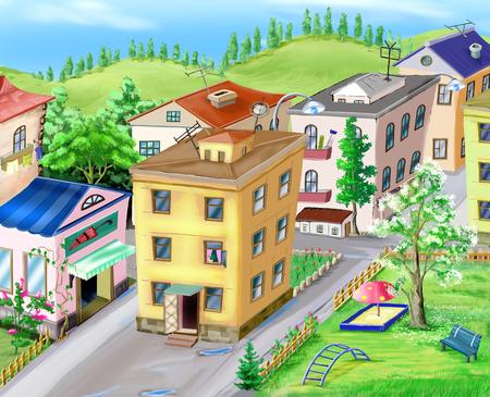 idyll: Small city view illustration Stock Photo