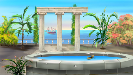 ancient greek: Ancient Greek Colonnade illustration Stock Photo
