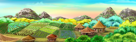 Chinese Village and Rice Fields illustration