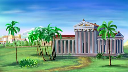 templo griego: Ilustración del antiguo templo griego