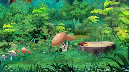 Mushrooms in a Forest Glade illustration