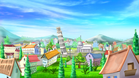 leaning tower: Cityscape with leaning tower of Pisa illustration