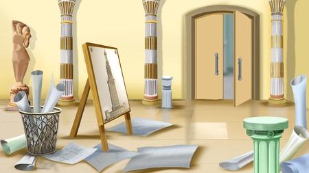 arquitecto caricatura: Lugar de trabajo del arquitecto ilustraci�n