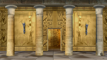 Ancient Egyptian Temple Indoor illustration Imagens