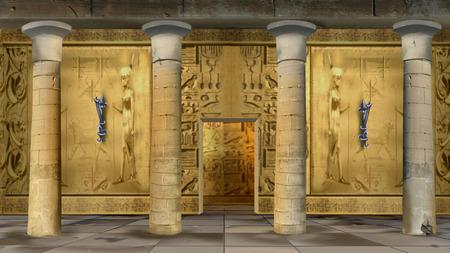 Ancient Egyptian Temple Indoor illustration Archivio Fotografico