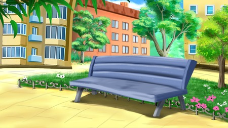 the courtyard: Bench in the Courtyard illustration