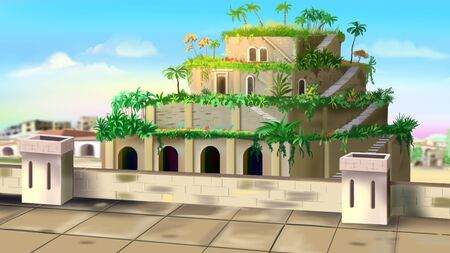 hanging gardens of babylon illustration